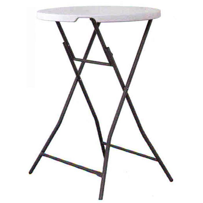 Table haute pliante avec plateau rond en polypropylène coloris blanc ...