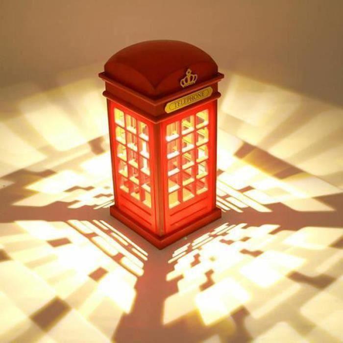 Lampe De Bureau Cabine Telephonique Avec Piles Rechargeables Lampe