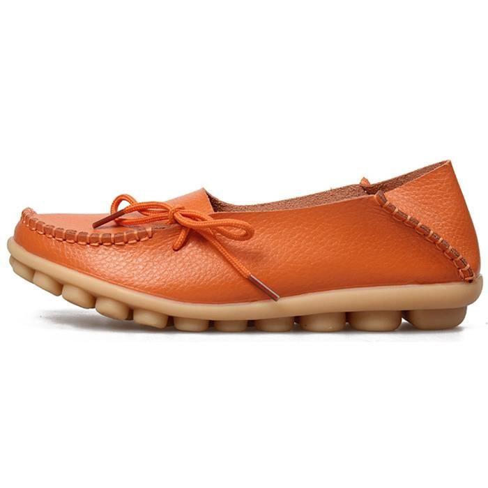 Chaussures de conduite à lacets en cuir de vachette Mocassins Chaussures bateau Flats QCJPN Taille-36 1-2