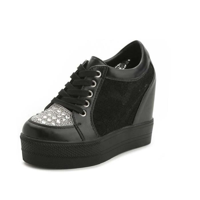 Chaussure Compensee Femme Basket Augmentation De La Hauteur Grande Taille Populaire BXX-XZ110Noir40