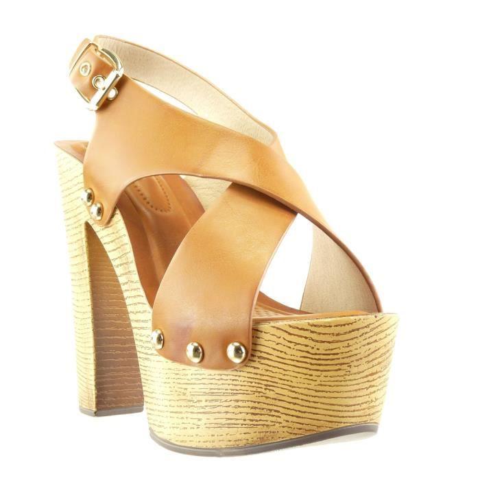 Angkorly - Chaussure Mode Sabot Sandale plateforme femme clouté métallique bois Talon compensé plateforme 14 CM - Camel - PN1567 T AfR22g
