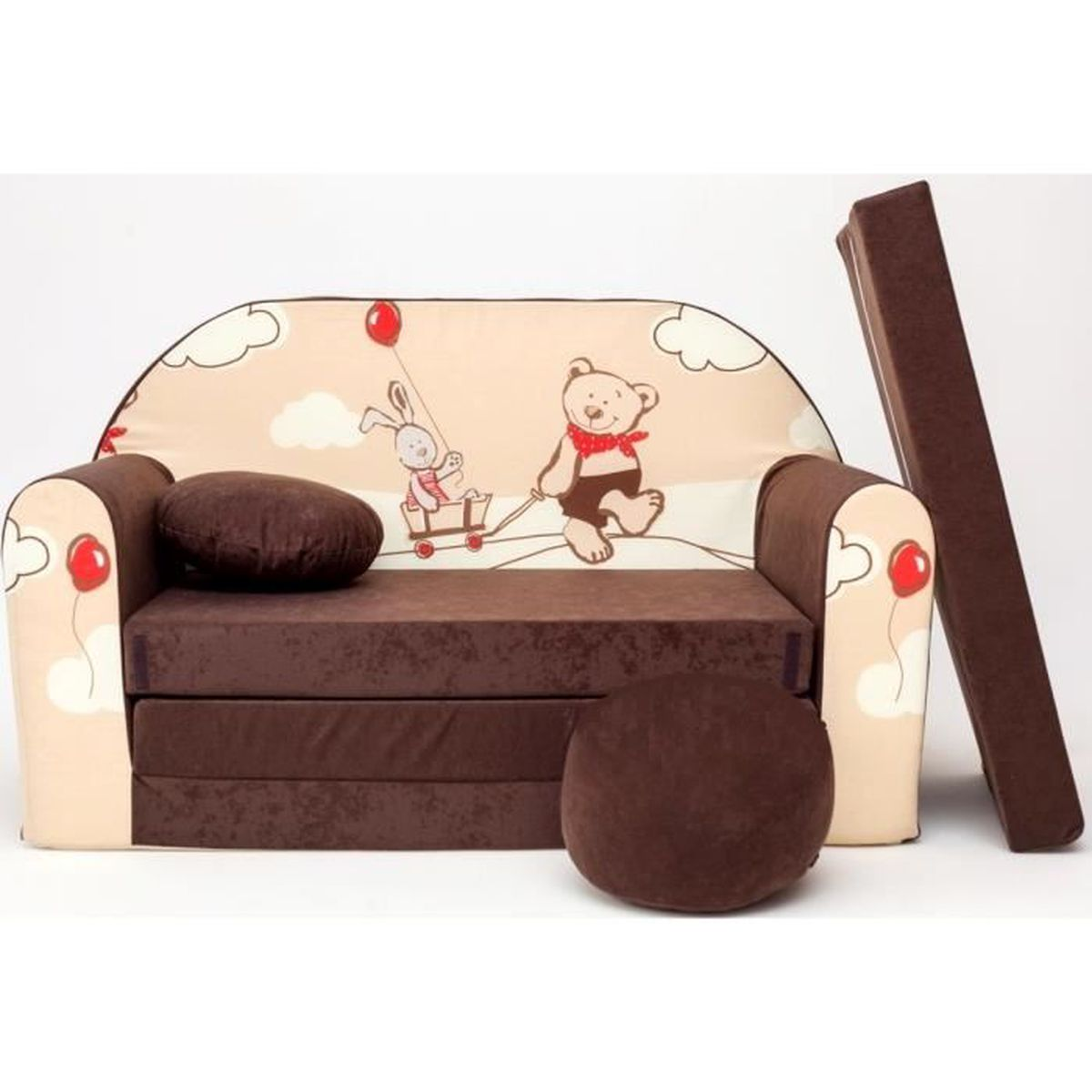 canape sofa enfant 2 places convertible marron ours et lapin achat vente fauteuil canap. Black Bedroom Furniture Sets. Home Design Ideas