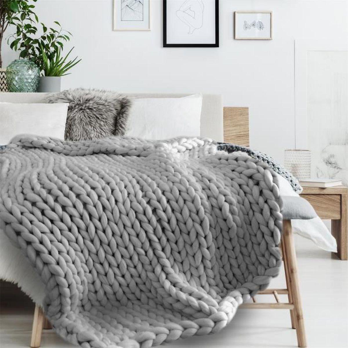 plaid tricot grosse mailles 120x150cm gris couverture jete canape