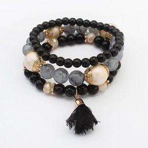 BRACELET - GOURMETTE Bracelet à franges perle - Noir