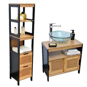 Meuble salle bain bambou Achat Vente Meuble salle bain bambou