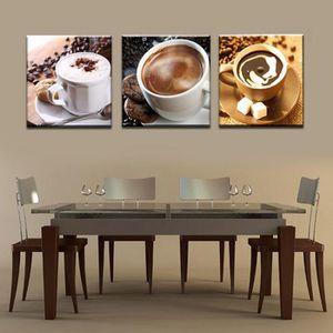 OBJET DÉCORATION MURALE Sans cadre 3 Panneau Alimentaire Et Tasse De Café