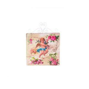 TABLEAU - TOILE Tableau cadre métal Ange avec roses - 39 x 30 cm -