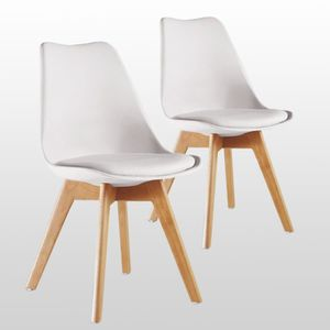 CHAISE Lot de 2 Chaises Lorenzo Style Scandinave Blanches