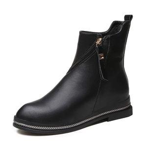 Automne et hiver bottes Martin femmes chaussures vent britannique à fond plat à glissière côté plat avec des bottes simples 2017 OqGBQdWG6V