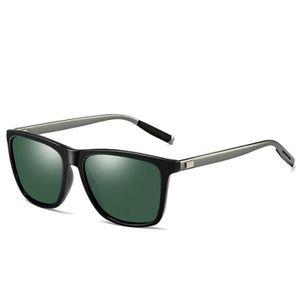Hommes lunettes de soleil polarisées UV400 cadre de magnésium de mode rétro  en aluminium noir Tarnish fb1d7fe68c35