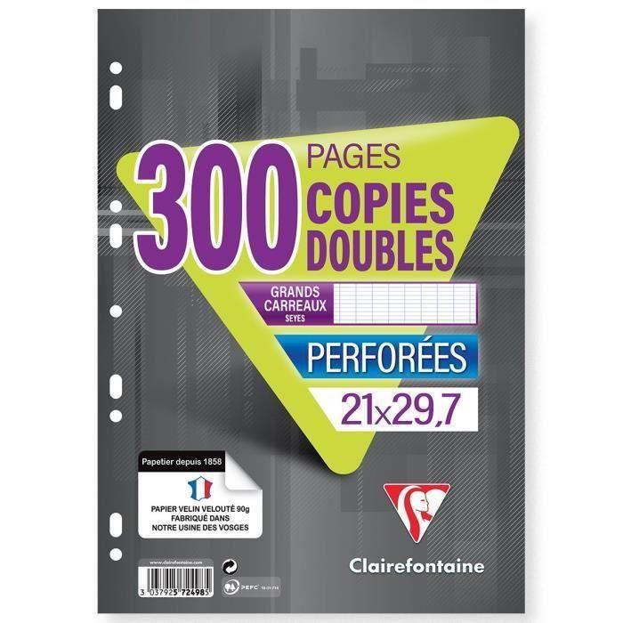 CLAIREFONTAINE - Copies doubles blanches - Perforées - 21 x 29,7 - 300 pages Seyès - Papier P.E.F.C 90G (Lot de 3)