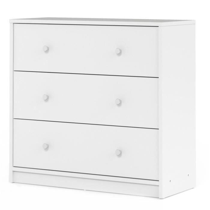 Panneaux de particules décor blanc - L 72,4 x P 30,1 x H 68,3 cm - 3 tiroirs - Fabrication européenneCOMMODE DE CHAMBRE