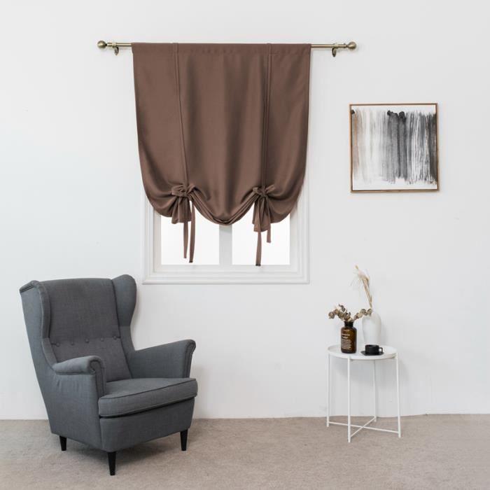 1Pc 60x120cm Romain Rideau Brown Rideau Passe Tringle Décoration de Fenêtre  Chambre-Salle de Bain-Balcon