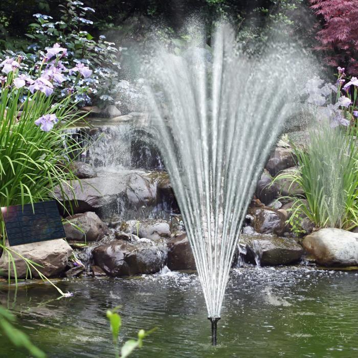 Fontaine solaire panneau solaire pompe 160L/h 4 diffuseurs - Jardin ...
