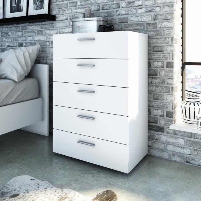 finlandek commode de chambre tyhja style contemporain blanc l 70 cm achat vente commode de. Black Bedroom Furniture Sets. Home Design Ideas