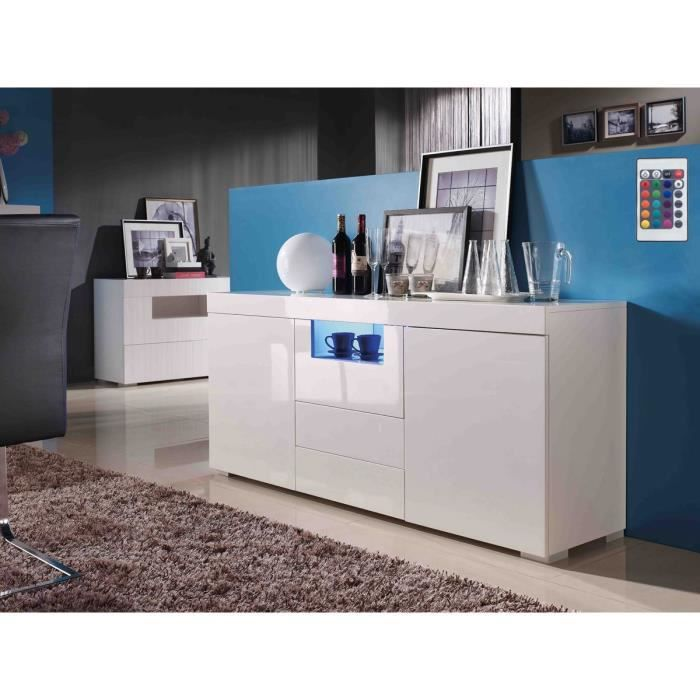 bahut laque blanc 2 portes et 2 tiroirs achat vente. Black Bedroom Furniture Sets. Home Design Ideas