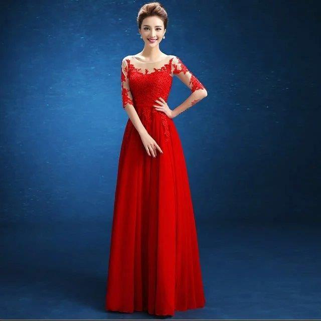20e5adab97d Nouvelle arrivée Grande Taille Robe de soirée See Through Sexy Robe de  mariée en dentelle épissage robe rouge longue