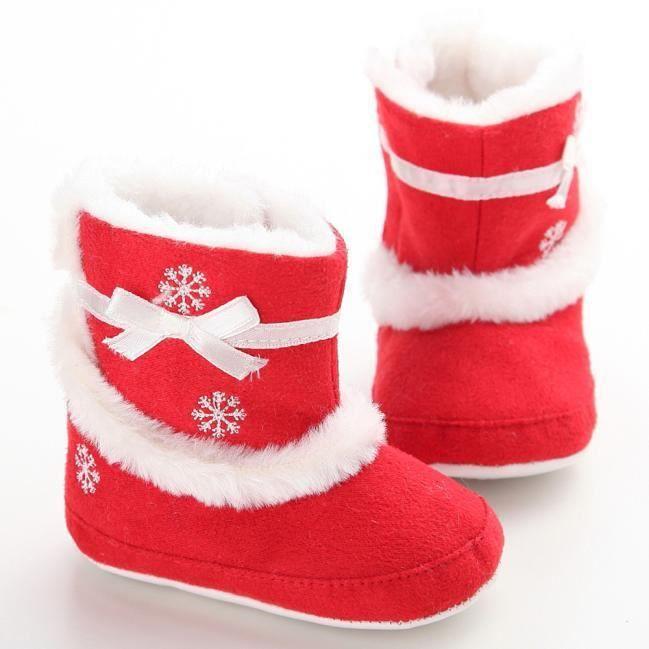 Bottes de neige molles de bébé de semelles molles de berceau rouge zcYbI9