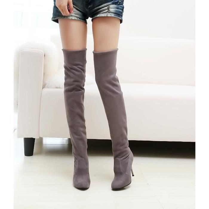 Point Toe femmes à talons hauts bottes automne hiver femmes montées chaussures simples Gris WE590