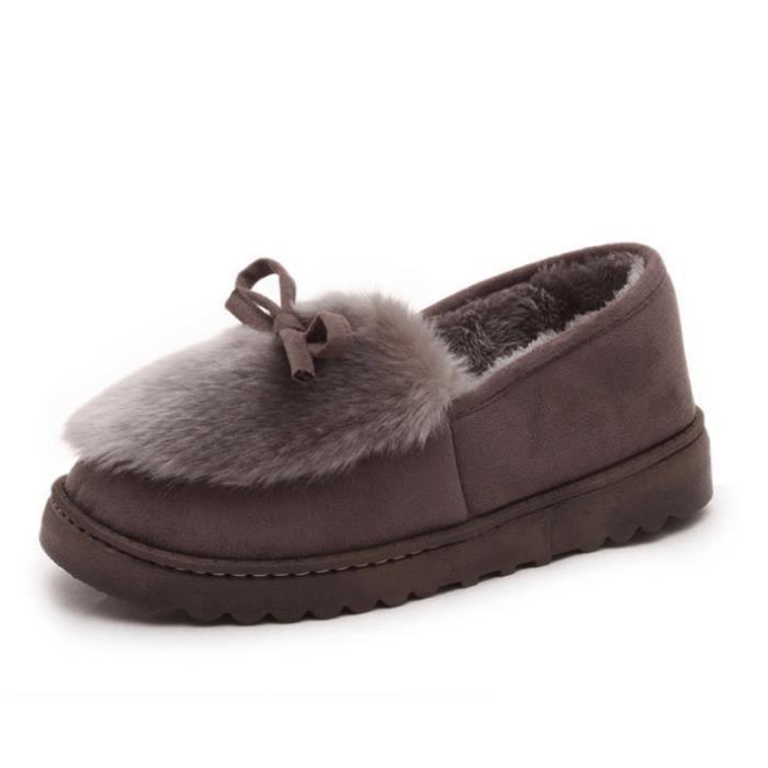 Chaussures Femme Hiver Peluche fond épaisé Chaussure BWYS-XZ065Gris36