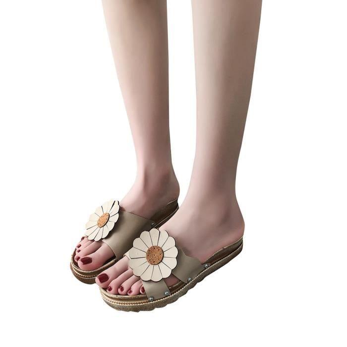 a272555ff836 Femmes Flotteur Solide Talon Plat Épais Sandales Bas Slipper Plage  Chaussures Beige