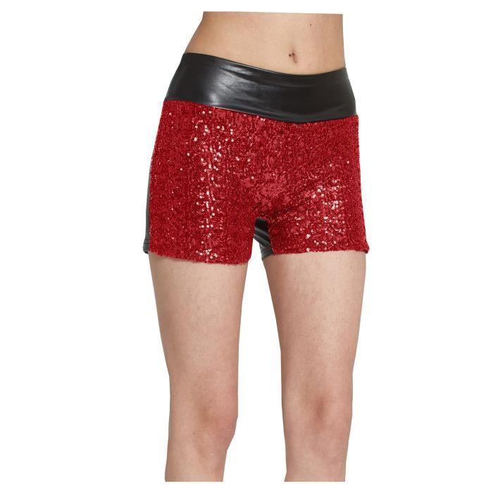 8fb85d8c311a79 Paillettes Rose Pu femmes Pantalons Hot Shorts Faux Skinny en cuir MROXR  Taille-34