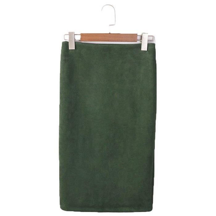 1da4a4f8a917 Minetom Femmes Jupe Été Haute Taille Élégant En Jupe Midi Jupe Crayon  Élasticité Bodycon Droite Jupe Office Genou Skirts Vert Vert - Achat    Vente jupe - ...