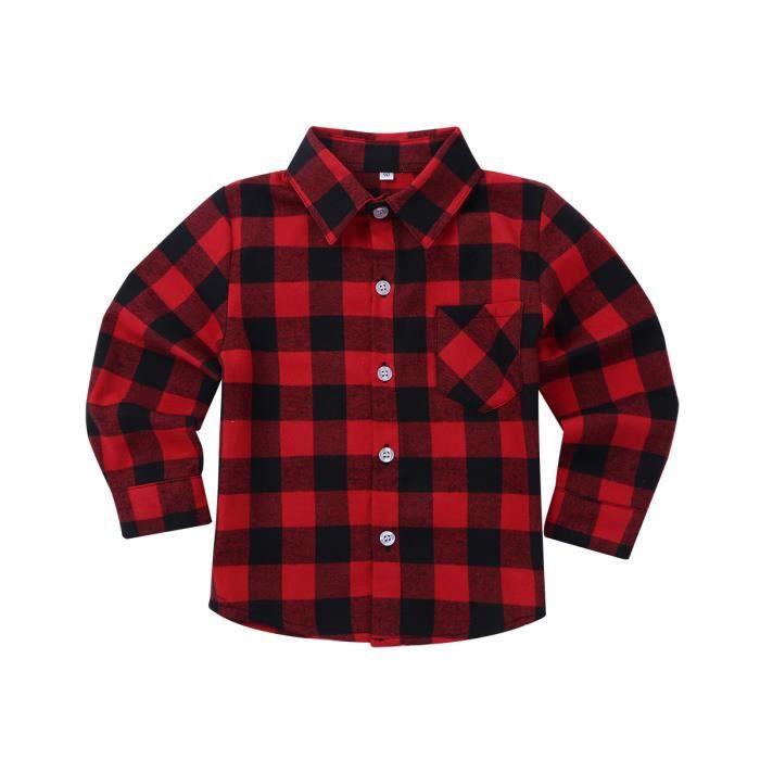 Chemise Enfant Garçon Fille Coton Chemise à Carreaux Classique Manches  Longues 18 Mois - 10 Ans Rouge Noir 2396fba4108a