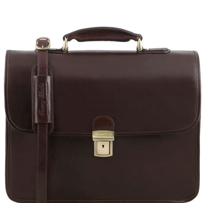 Tuscany Leather - Vernazza - Cartable en cuir porte ordinateur avec 3 compartiments - Marron foncé