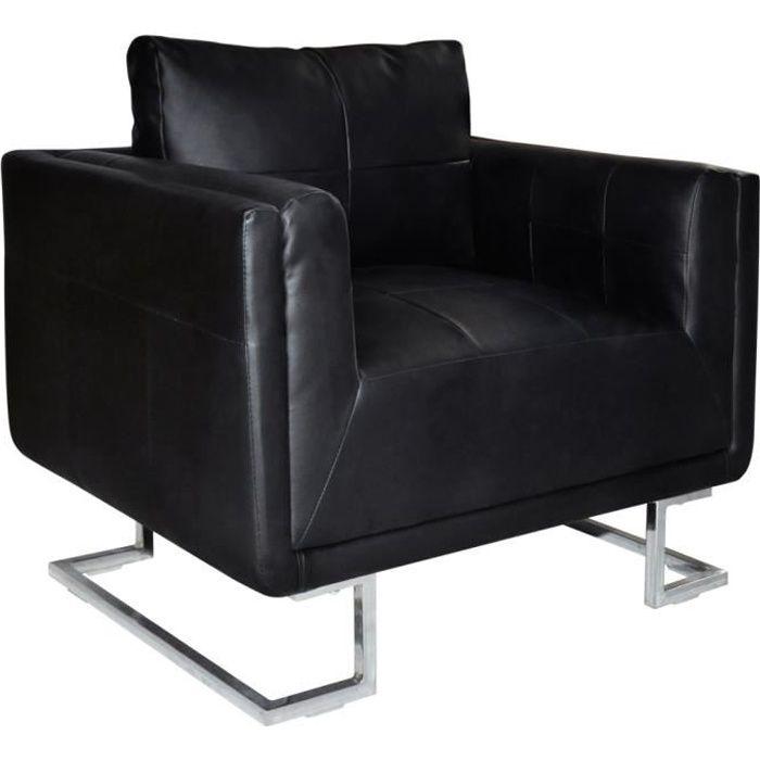 VidaXL Luxueux Fauteuil Cube en cuir Noir Achat Vente fauteuil