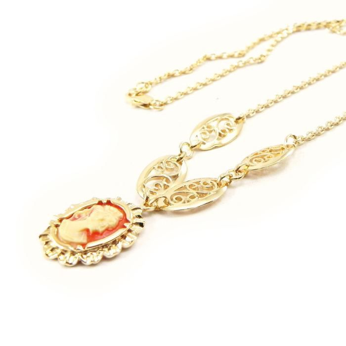Collier Camee Orange