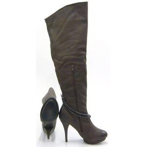 Bottes de femme Solide Couleur Retro Fleur Broderie cheville mode épais talon Chaussures bout pointu 9777970 sro6EsyR