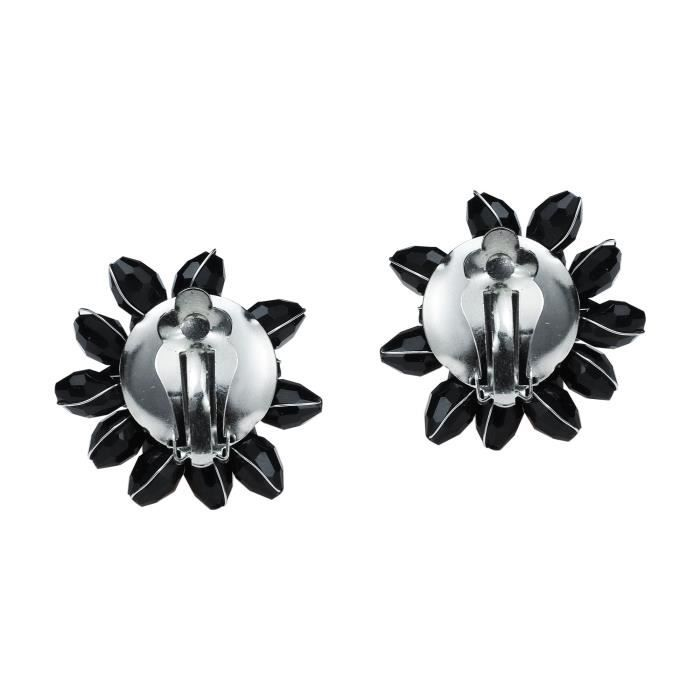 Womens Dazzling Black Chrysanthemum Flower Fashion Crystals Base Metal Clip On Earrings JHPPZ