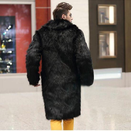 Chaud Hommes Long Noir D'hiver En Épais Cardigan Veste Fourrure Fausse Parka Manteau Plus Manteaux T4Fw4