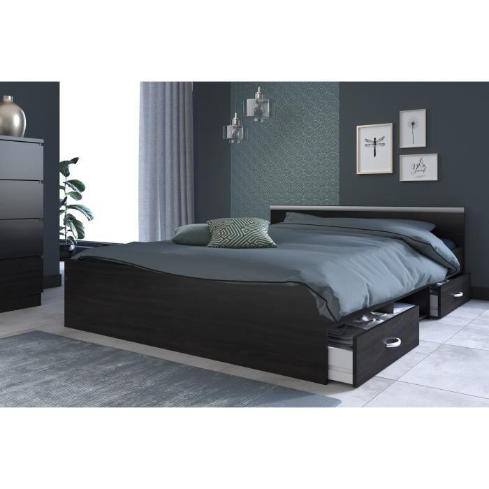 lit adulte 140 200 achat vente pas cher. Black Bedroom Furniture Sets. Home Design Ideas