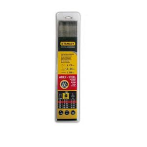 STANLEY 460825 Lot de 50 électrodes rutiles acier - ? 2,5 mm - L 350 mm - Baguettes de soudure