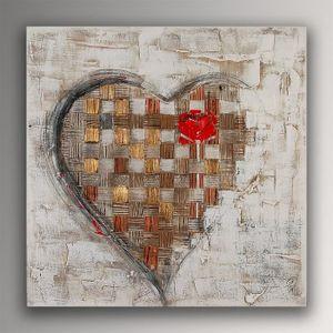TABLEAU - TOILE Coeur avec Rose tableau modern peint à la main sur