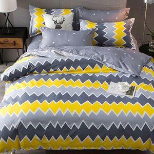 housse de couette jaune et gris achat vente pas cher. Black Bedroom Furniture Sets. Home Design Ideas