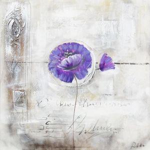 TABLEAU - TOILE LILAS Toile peinte Fleur lilas - Coton - 70x70 cm