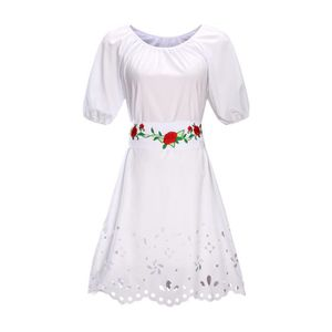 ROBE SIMPLE FLAVOR Robe Femme Col Rond Broderie Mode
