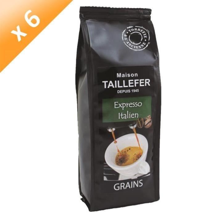 MAISON TAILLEFER Lot de 6 Cafés Expresso Italien Grains Sachet de 250g