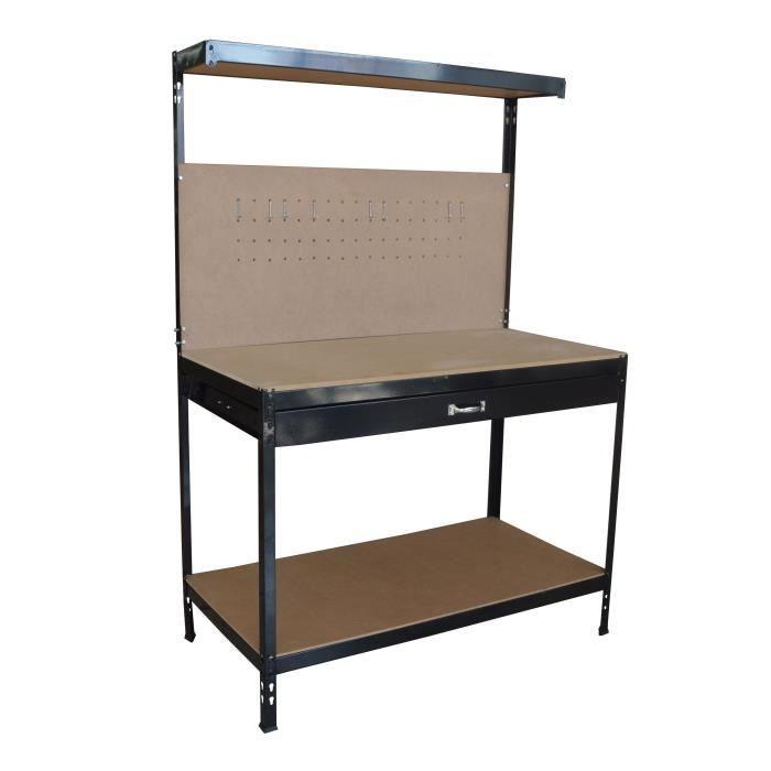 Etabli métal à dosseret avec tiroir