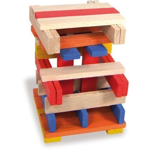 VILAC Batibloc color - 100 planchettes en bois massif colorées