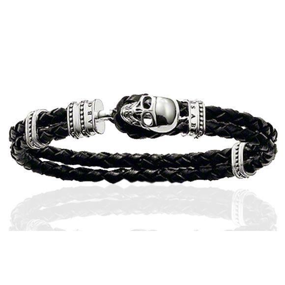 Bracelet Homme Tête de Mort Crâne Gothique Tresse Cuir Acier Inoxydable  Fantaisie Couleur Argent Noir Longueur 20cm