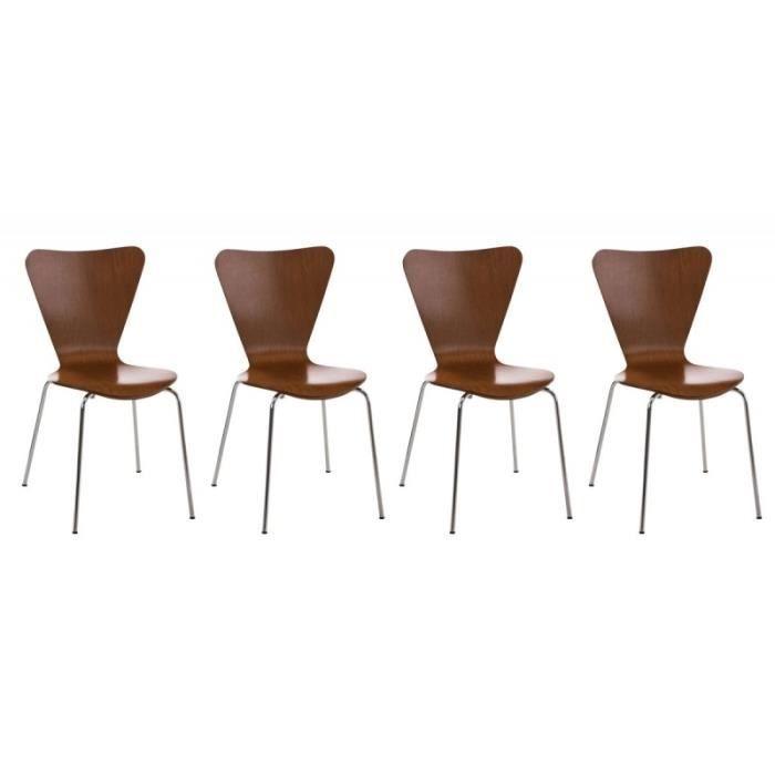 Lot de 4 chaises de s jour bureau en bois marron et m tal - Chaise de sejour design ...