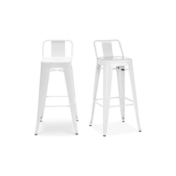 Chaise Haute Design Industriel SAN FRANCISCO (lot De 2) Blanc