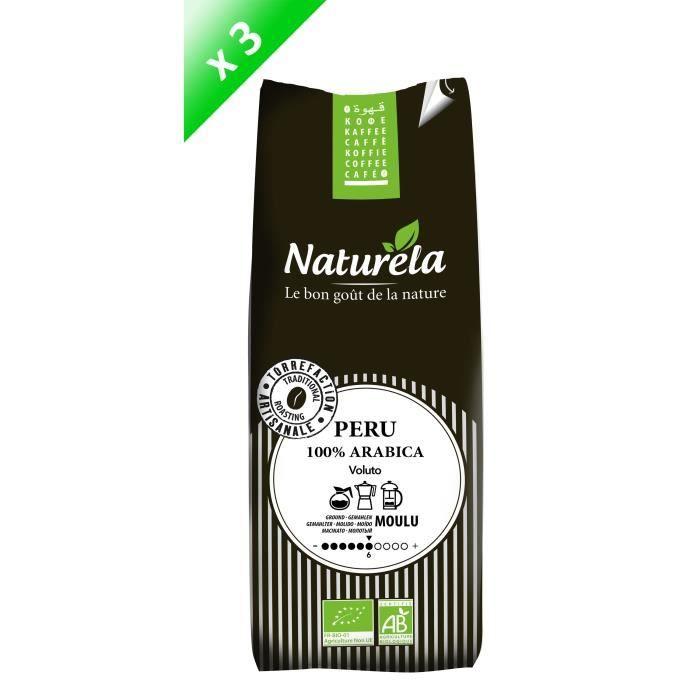 CAFÉ NATURELA Lot de 3 Cafés Pérou 100% Arabica Moulu 2