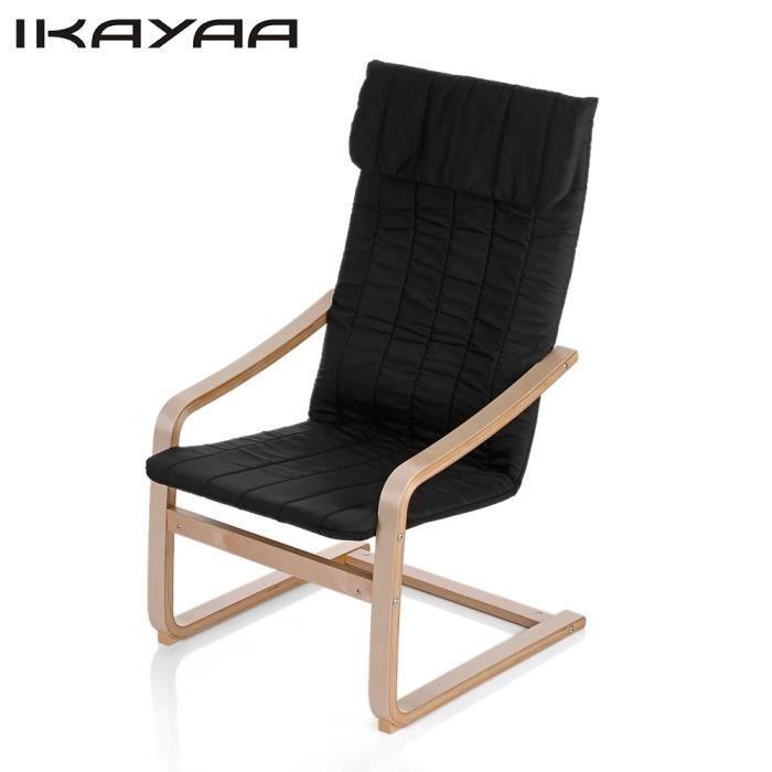 À Fauteuil Bois Ikayaa Confortable Noir Et Relax En Bascule Chaise SGUMzpqV
