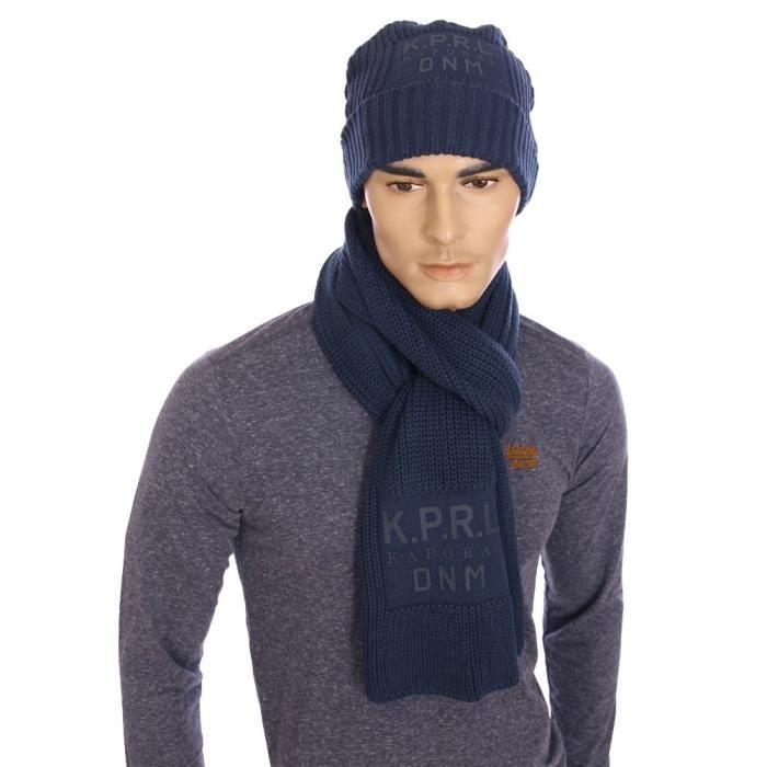 910736ccc40e Kaporal - Pack écharpe et bonnet Lag bleu pétrole homme hiver 2016 ...