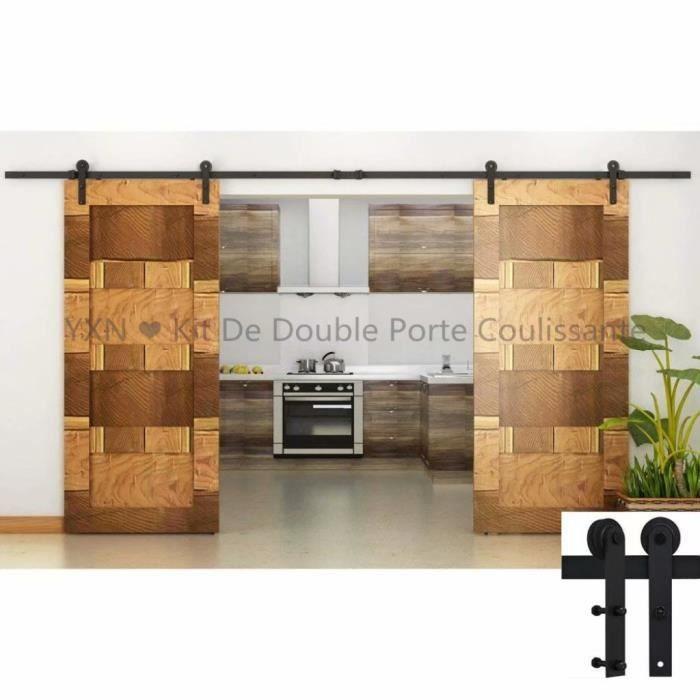 Double Porte Coulissante Interieur yxn ❤ kit de double porte coulissante poulie de rail suspendu